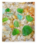 Seaglass Green Art Prints Agates Beach Garden Fleece Blanket