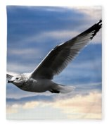 Seagull And Clock Tower Fleece Blanket