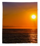 Seagull At Sunset Fleece Blanket