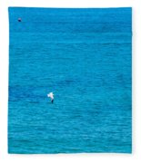 Seagull Cruising Over Azure Blue Sea Fleece Blanket