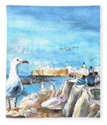 Seagull In Essaouira In Morocco Fleece Blanket