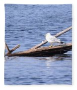 Seagull On Driftwood Fleece Blanket