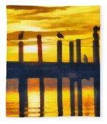 Seagull Sunset Fleece Blanket