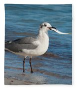 Seagull With Fish 1 Fleece Blanket