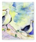 Seagulls In Calpe In Spain Fleece Blanket