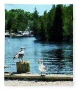Seagulls On The Pier Fleece Blanket