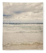 Seagulls Take Flight Over The Sea Fleece Blanket