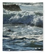 Seal Surfing Waves Fleece Blanket