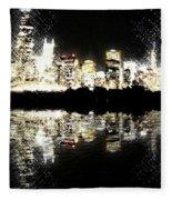 Sears Tower Dominated Skyline Lake Reflection  Fleece Blanket