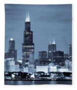 Sears Tower In Blue Fleece Blanket
