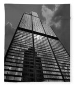 Sears Willis Tower Black And White 02 Fleece Blanket
