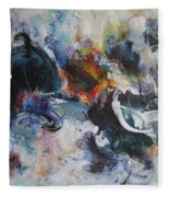 Seascape Abstract Painting Blue Purple Orange Acrylic Painting Fleece Blanket