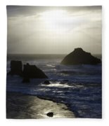 Seascape Oregon Coast 4 Fleece Blanket
