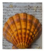 Seashell And Words Fleece Blanket