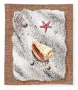 Seashell Pearls And Water Drops Collection Fleece Blanket