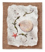 Seashell With Pearls Sea Star And Seaweed  Fleece Blanket