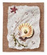 Seashell With The Pearl Sea Star And Seaweed  Fleece Blanket