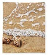 Seashells And Lace Fleece Blanket