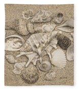 Seashells Collection Drawing Fleece Blanket