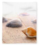 Seashells On Wood Dock Fleece Blanket