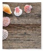 Seashells On Wood Fleece Blanket