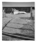 Seaside Park New Jersey Shore Bw Fleece Blanket