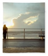 Seaside Person Fleece Blanket