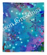 Season Greetings - Snowflakes Fleece Blanket
