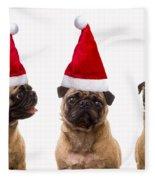 Seasons Greetings Christmas Caroling Pug Dogs Wearing Santa Claus Hats Fleece Blanket