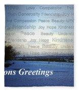 Seasons Greetings Wishes Fleece Blanket