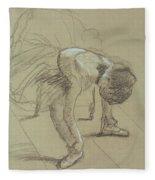 Seated Dancer Adjusting Her Shoes Fleece Blanket