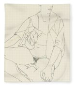 Seated Female Nude With Open Blouse Fleece Blanket