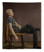 Seated Man Fleece Blanket