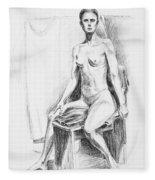 Seated Model Drawing  Fleece Blanket