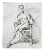 Seated Nude Model Study Fleece Blanket