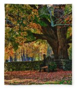 Seated Under The Fall Colors Fleece Blanket