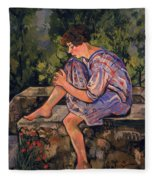 Seated Young Woman Fleece Blanket