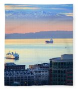 Seattle And Elliott Bay Fleece Blanket