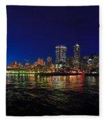 Seattle City Skyline Romance Panorama Fleece Blanket