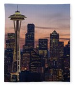 Seattle Cityscape Morning Light Fleece Blanket