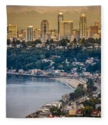 Seattle From The Air Fleece Blanket