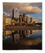 Seattle Pier Sunset Clouds Fleece Blanket