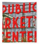 Seattle Public Market Center Clock Sign Fleece Blanket