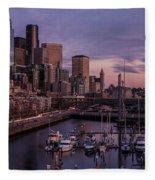 Seattle Skyline Bell Harbor Dusk Fleece Blanket