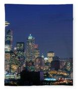Seattle Skyline With Space Needle Fleece Blanket