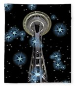 Seattle Space Needle Blue Stars Fleece Blanket