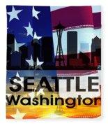 Seattle Wa Patriotic Large Cityscape Fleece Blanket