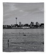 Seattle Waterfront Bw 2 Fleece Blanket