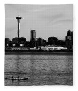 Seattle Waterfront Bw Fleece Blanket