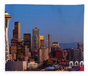 Seattle Winter Evening Panorama Fleece Blanket